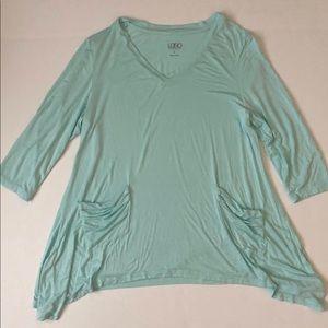 LOGO By Lori Goldstein Mint V-neck Tunic size L